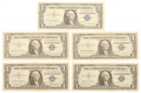 Lot of (5) 1957 U.S. $1 One Dollar Blue Seal Silver Certificate Notes at PristineAuction.com