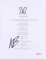 "Andy Biersack Signed Black Veil Brides ""Knives And Pens"" 8x10 Lyric Sheet (PSA Hologram) at PristineAuction.com"