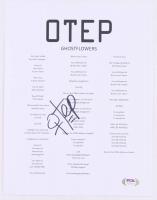 """Otep Shamaya Signed OTEP """"Ghostflowers"""" 8x10 Lyric Sheet (PSA Hologram) at PristineAuction.com"""