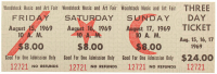 1969 Woodstock Authentic Three-Day Tickets at PristineAuction.com