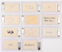 Lot of (11) Vintage Celebrity Signed Cuts With Joanne Woodward, Zsa Zsa Gabor, Bobby Rydell, Sheldon Leonard (BAS Encapsulated) at PristineAuction.com