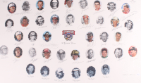 Nascar's 50 Greatest Drivers 26x39 Lithograph Signed by (34) with Dale Earnhardt Sr., Richard Petty, Jeff Gordon, Bobby Allison, Bill Elliott (JSA LOA) at PristineAuction.com