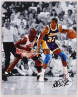 Magic Johnson Signed Lakers 16x20 Photo On Canvas (JSA COA) at PristineAuction.com
