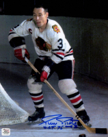 "Pierre Pilote Signed Blackhawks 8x10 Photo Inscribed ""H.O.F. 75"" (Autograph Reference COA) at PristineAuction.com"