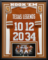 """Texas Longhorns Legends"" 34.5x42.5 Custom Framed Jersey Signed by (4) with Vince Young, Colt McCoy, Earl Campbell & Ricky Williams (JSA COA) at PristineAuction.com"