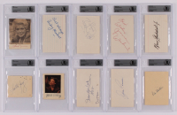 Lot of (10) Signed Celebrity Cuts with Gene Tierney, Lana Turner, Dylan Cannon, Loretta Young With Inscriptions (BGS Encapsulated) at PristineAuction.com