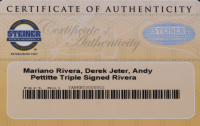"""Mariano Rivera, Derek Jeter & Andy Pettitte Signed LE Mariano Rivera Louisville Slugger Commemorative Baseball Bat Inscribed """"5x W.S. Champs"""" (Steiner COA) at PristineAuction.com"""