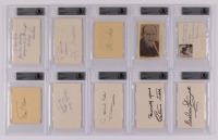 Lot of (10) Signed Celebrity Cuts with Pearl Bailey, Leif Erickson, John Condon, Eve Arden With Inscriptions (BGS Encapsulated) at PristineAuction.com