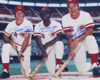 "Pete Rose, Joe Morgan & Johnny Bench Signed Reds 16x20 Photo Inscribed ""MVP 1973"", ""MVP '75-'76"", ""MVP 70 & 72"" (PSA LOA & FSC COA) at PristineAuction.com"