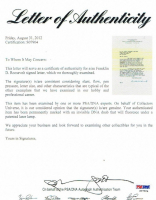Franklin D. Roosevelt Signed Letter (PSA LOA) at PristineAuction.com