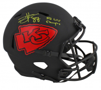 "Travis Kelce Signed Chiefs Full-Size Eclipse Alternate Speed Helmet Inscribed ""SB LIV Champs"" (Beckett COA) at PristineAuction.com"
