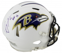 """Ray Lewis Signed Ravens Full-Size Authentic On-Field Matte White Speed Helmet Inscribed """"HOF '18"""" (Beckett COA) at PristineAuction.com"""