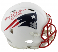 "Randy Moss Signed Patriots Full-Size Matte White Authentic On-Field Speed Helmet Inscribed ""Straight Cash Homie"" (Beckett COA) at PristineAuction.com"