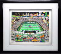 "Charles Fazzino Signed ""New York Jets"" 25x28 LE Custom Framed Artist Enhanced 3-D Pop Art Serigraph Display (PA LOA) at PristineAuction.com"