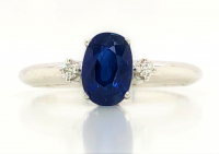 1.50ct Sapphire & Diamond Ring 14kt White Gold (GIA Cert) at PristineAuction.com