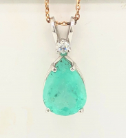 4.05ct Emerald & Diamond Pendant 14kt White Gold (GIA Cert) at PristineAuction.com