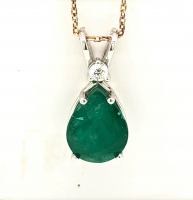 3.12ct Emerald & Diamond Pendant 14kt White Gold (GIA Cert) at PristineAuction.com