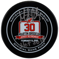 "Martin Brodeur Signed Devils Jersey Retirement Hockey Puck Inscribed ""HOF 2018"" (Fanatics Hologram) at PristineAuction.com"