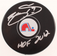 "Joe Sakic Signed Avalanche Throwback Logo Hockey Puck Inscribed ""HOF 2012"" (COJO COA) at PristineAuction.com"