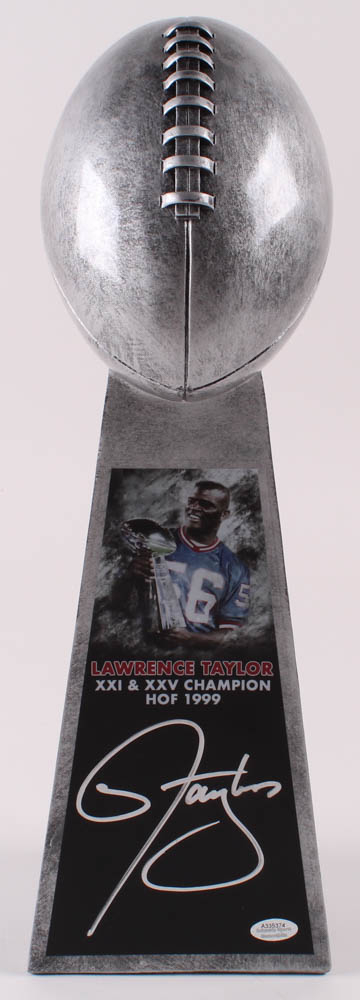 """Lawrence Taylor Signed 15"""" Football Championship Trophy (Schwartz COA) at PristineAuction.com"""
