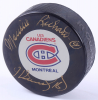 Maurice Richard & Henri Richard Signed Canadiens Logo Hockey Puck (Beckett LOA) at PristineAuction.com
