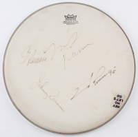 "Ramones 14"" Drumhead Signed by (4) With Johnny Ramone, Joey Ramone, C.J. Ramone & Marky Ramone (Beckett LOA) at PristineAuction.com"