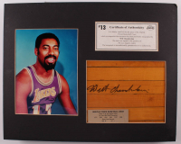 Wilt Chamberlain Signed Lakers 16x20 Custom Matted Wood Floorboard Piece Display (Beckett LOA) at PristineAuction.com