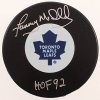 "Lanny McDonald Signed Maple Leafs Logo Hockey Puck Inscribed ""HOF 92"" (COJO COA) at PristineAuction.com"