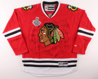 2012-13 Blackhawks Jersey Signed by (25) With Patrick Kane, Jonathan Towes, Joel Quenneville, Corey Crawford (Beckett LOA) at PristineAuction.com