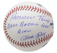"Pete Rose Signed OML Baseball Inscribed ""President Trump Make America Great Again"" (JSA COA) at PristineAuction.com"