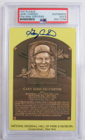 Gary Carter Signed Gold Hall of Fame Plaque Postcard (PSA Encapsulated) at PristineAuction.com