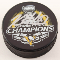 Kris Letang Signed Penguins 2016 Stanley Cup Champions Logo Hockey Puck (Letang COA) at PristineAuction.com