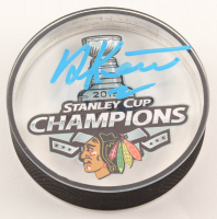Duncan Keith Signed Blackhawks 2015 Stanley Cup Champions Logo Acrylic Hockey Puck (Keith COA) at PristineAuction.com