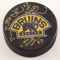 Brad Marchand, Patrice Bergeron & David Pastrnak Signed Bruins Logo Hockey Puck (The Perfection Line COA) at PristineAuction.com