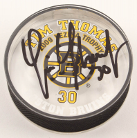 Tim Thomas Signed LE Bruins Logo Acrylic Hockey Puck (Thomas COA) at PristineAuction.com