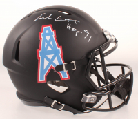 "Earl Campbell Signed Oilers Full-Size Matte Black Speed Helmet Inscribed ""HOF 91"" (Beckett COA) at PristineAuction.com"