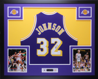 Magic Johnson Signed 35x43 Custom Framed Jersey (JSA COA) at PristineAuction.com