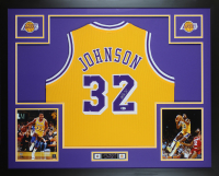 Magic Johnson Signed 35x43 Custom Framed Jersey (Beckett COA) at PristineAuction.com