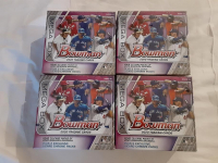 Lot of (4) 2020 Bowman Baseball Card Mega Boxes with (50) Cards Each at PristineAuction.com