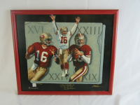 "Joe Montana Signed 49ers 23x27 Custom Framed Photo Display Inscribed ""3x SB MVP & ""4x SB Champion"" (JSA LOA) at PristineAuction.com"