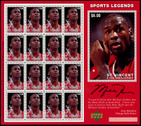 Sheet of (16) Unused Michael Jordan St. Vincent & The Grenadines Sports Legends Stamps at PristineAuction.com