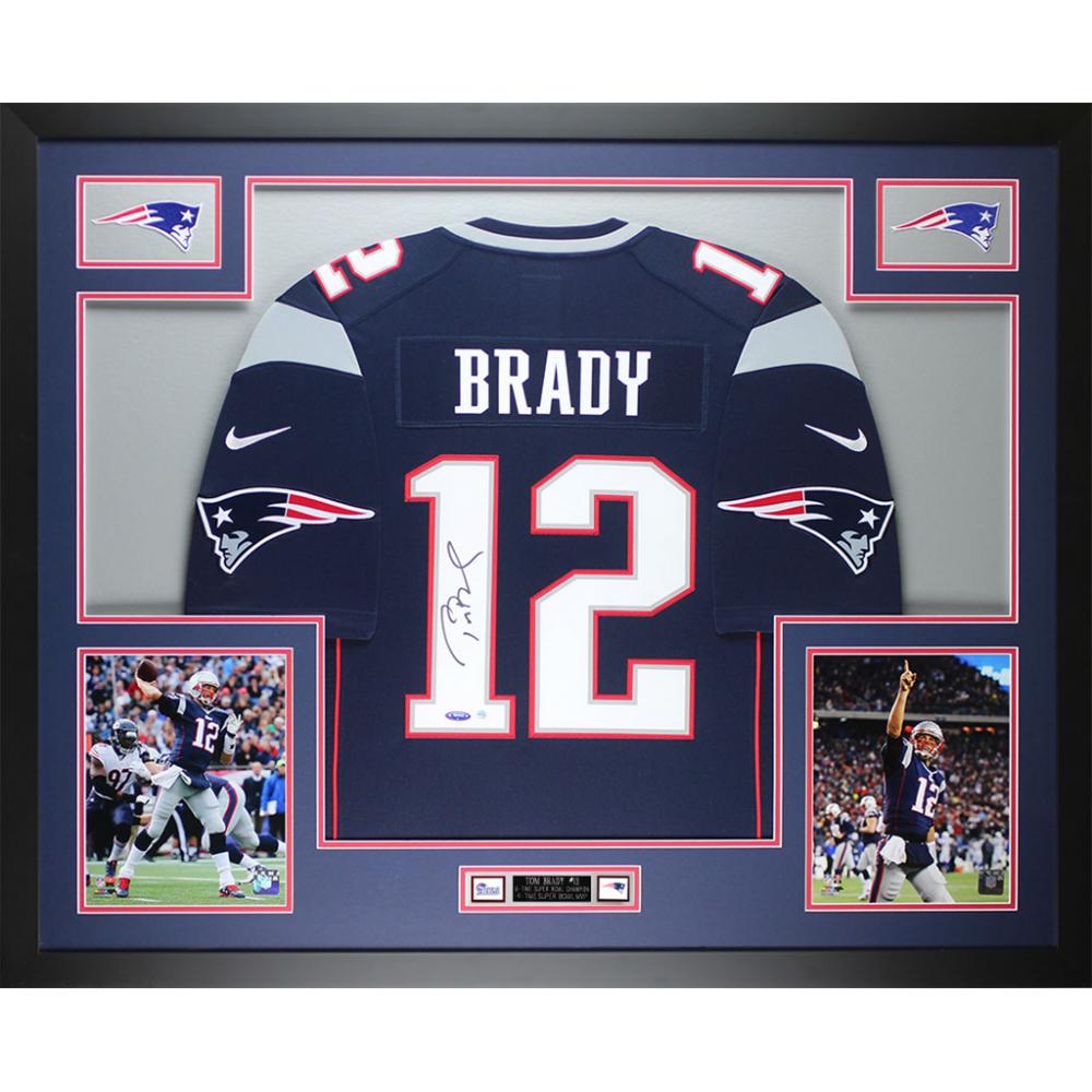 Tom Brady Signed Patriots 35x43 Custom Framed Jersey (Steiner ...