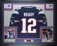 Tom Brady Signed Patriots 35x43 Custom Framed Jersey (Steiner COA) at PristineAuction.com