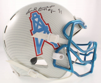 "Earl Campbell Signed Oilers Full-Size Authentic On-Field Hydro-Dipped Helmet Inscribed ""HOF 91"" (Beckett COA) at PristineAuction.com"