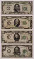 Lot of (4) 1928 U.S. Federal Reserve Notes with $50, $20, $10, & $5 at PristineAuction.com