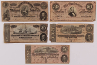 Lot of (5) 1864 Confederate Bank Notes with $100, $50, $20, $10, & $5 at PristineAuction.com