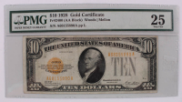 1928 $10 Ten-Dollar U.S. Gold Certificate Bank Note (PMG 25) (AA Block) at PristineAuction.com