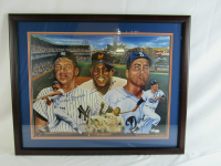Willie Mays, Mickey Mantle & Duke Snider Signed 18x24 Custom Framed Poster Display (JSA LOA) at PristineAuction.com