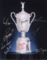 Men's U.S. Open Trophy 11x14 Photo Signed by (11) with Angel Cabrera, Fuzzy Zoeller, Ernie Els, Jim Furyk (JSA ALOA) at PristineAuction.com