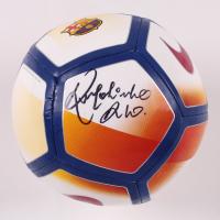 """Ronaldinho Signed FC Barcelona Logo Soccer Ball Inscribed """"Rio"""" (Beckett COA) at PristineAuction.com"""